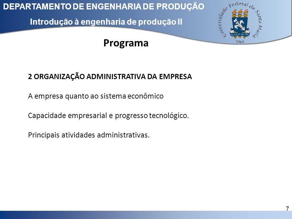 Clique para editar o estilo do título mestre DEPARTAMENTO DE ENGENHARIA DE PRODUÇÃO 7 Introdução à engenharia de produção II 2 ORGANIZAÇÃO ADMINISTRAT