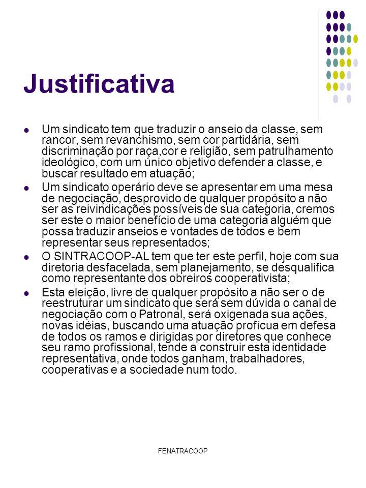 FENATRACOOP Justificativa Um sindicato tem que traduzir o anseio da classe, sem rancor, sem revanchismo, sem cor partidária, sem discriminação por raç