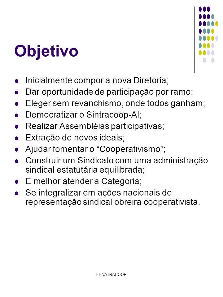 FENATRACOOP Objetivo Inicialmente compor a nova Diretoria; Dar oportunidade de participação por ramo; Eleger sem revanchismo, onde todos ganham; Democ