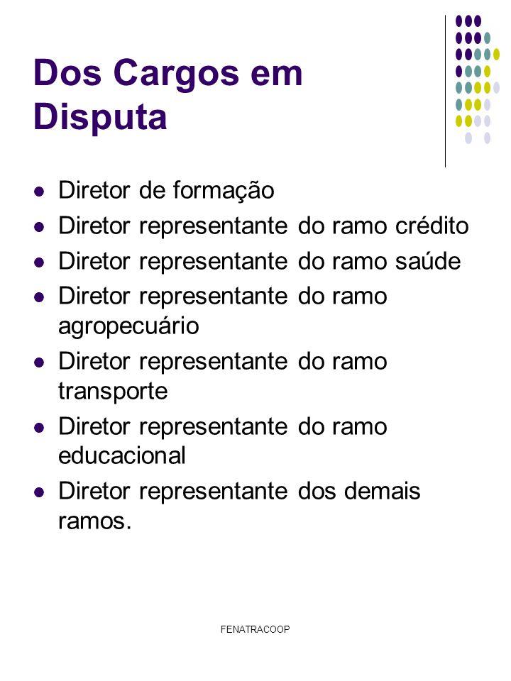 FENATRACOOP Dos Cargos em Disputa Diretor de formação Diretor representante do ramo crédito Diretor representante do ramo saúde Diretor representante