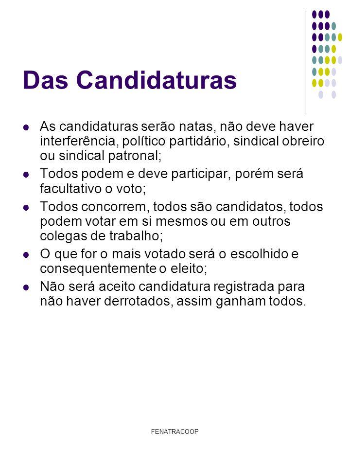 FENATRACOOP Das Eleições As Eleições será por voto secreto, em urnas itinerantes; As cédulas será por cores diferentes, a saber: Diretor representante do ramo crédito............................Vermelho; Diretor representante do ramo Saúde............................Azul; Diretor representante do ramo Agorpecuário.................Verde; Diretor representante do ramo transporte.......................Laranja; Diretor representante do ramo Educacional....................Amarelo; O Diretor de formação e o diretor representante dos demais ramos será indicado pela Fenatracoop; As eleições será realizadas nas sedes das cooperativas com urnas itinerantes; Será acompanhada e fiscalizada a eleição pela FENATRACOOP e o SESCOOP que terão a seguinte atribuição; Fiscalizar o pleito eleitoral; Dar ciente e lavrar a ata de eleição nos locais; Confirmar suas rúbricas das atas na apuração; Anular local de votação caso haja qualquer ilicito que fira o presente regimento; Apurar os votos; Declarar os eleitos A cada cooperativa que for capitada os votos será lavrada ata da eleição, e ao final, deverá conter as assinaturas dos fiscais (fenatracoop e sescoop); Será acompanhada do mapa de votação (nome dos funcionários por cooperativa), na ata deverá estar explicito quantos funcionários existentes e quantos votaram; A eleição será nos dias 30 e 31 de Agosto e 01 de Setembro; A apuração será na sede do Sindicato (sintracoop-al) no dia 02 de Setembro as 09:00 (nove horas); Será computados os votos pelas atas, que deverá conincidir com os votos nas urnas; Será eleito os mais votados por ramo; Tomará posse os novos diretores com os demais diretores no dia 03 de Setembro de 2010 na primeira reunião da Diretoria que será acompanhada pela Diretoria da Fenatracoop e Coordenadoria Nordeste, as 09:00 ( nove horas ) na sede do SINTRACOOP-AL.