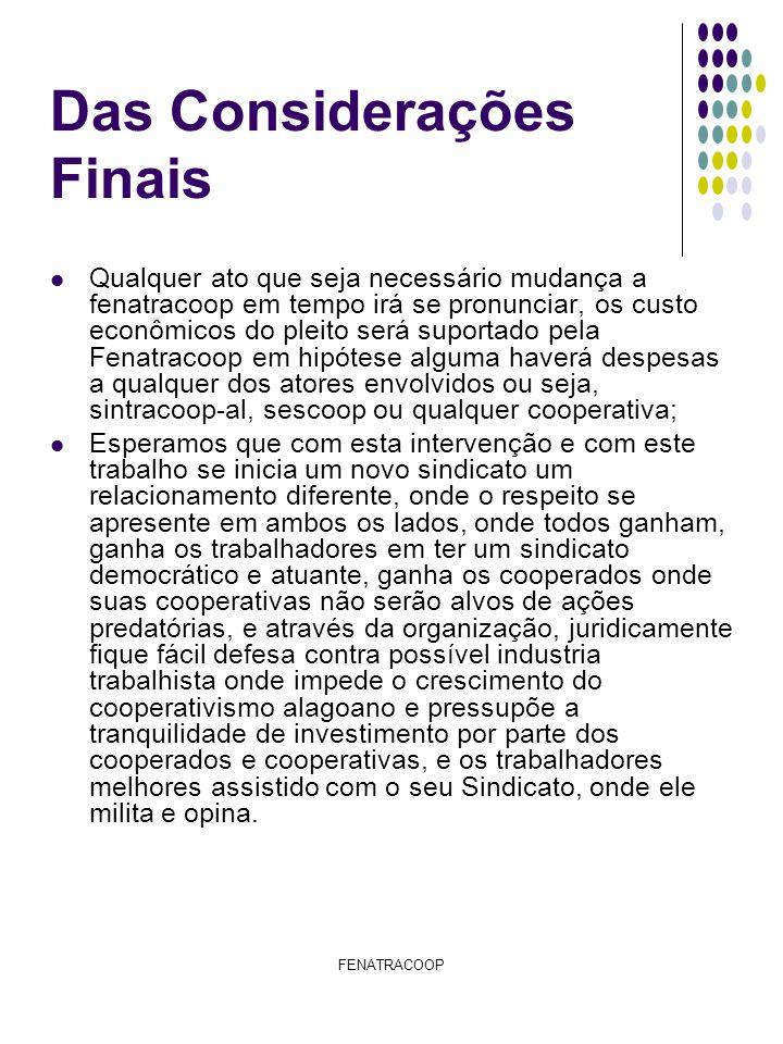 FENATRACOOP Das Considerações Finais Qualquer ato que seja necessário mudança a fenatracoop em tempo irá se pronunciar, os custo econômicos do pleito