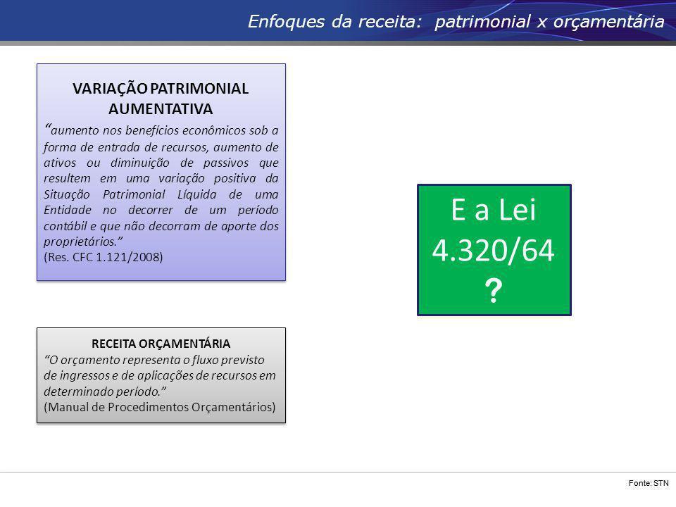 """Fonte: STN Enfoques da receita: patrimonial x orçamentária RECEITA ORÇAMENTÁRIA """"O orçamento representa o fluxo previsto de ingressos e de aplicações"""