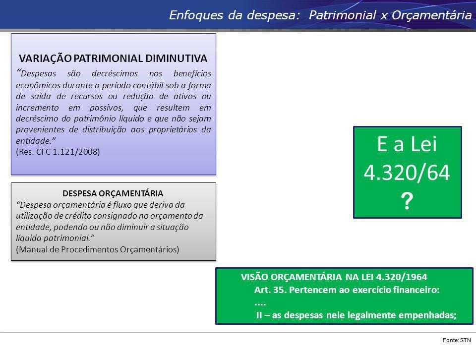 """Fonte: STN Enfoques da despesa: Patrimonial x Orçamentária DESPESA ORÇAMENTÁRIA """"Despesa orçamentária é fluxo que deriva da utilização de crédito cons"""