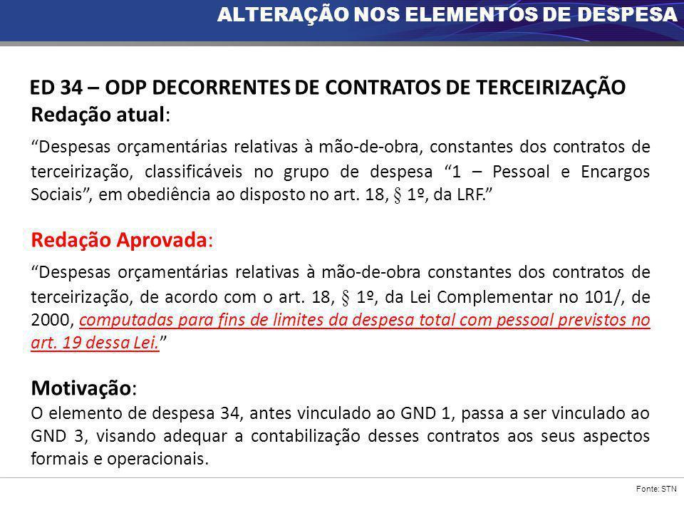 """Fonte: STN ED 34 – ODP DECORRENTES DE CONTRATOS DE TERCEIRIZAÇÃO Redação atual: """"Despesas orçamentárias relativas à mão-de-obra, constantes dos contra"""