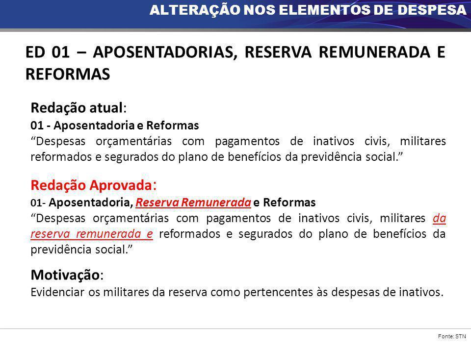 """Fonte: STN ED 01 – APOSENTADORIAS, RESERVA REMUNERADA E REFORMAS Redação atual: 01 - Aposentadoria e Reformas """"Despesas orçamentárias com pagamentos d"""