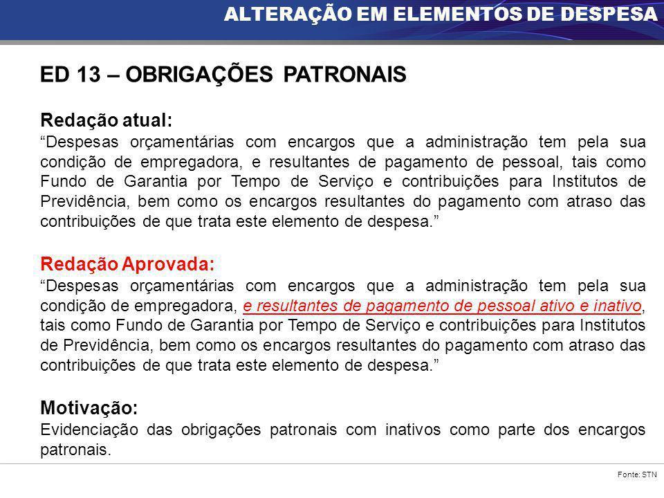 """Fonte: STN ALTERAÇÃO EM ELEMENTOS DE DESPESA ED 13 – OBRIGAÇÕES PATRONAIS Redação atual: """"Despesas orçamentárias com encargos que a administração tem"""