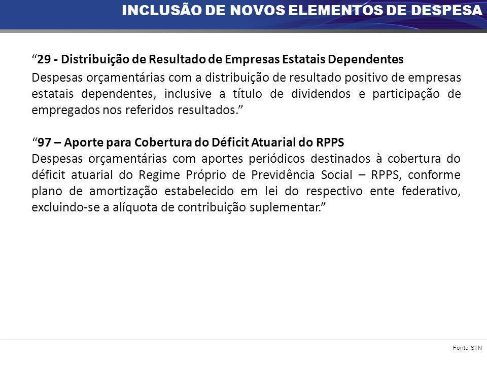 """Fonte: STN INCLUSÃO DE NOVOS ELEMENTOS DE DESPESA """"29 - Distribuição de Resultado de Empresas Estatais Dependentes Despesas orçamentárias com a distri"""