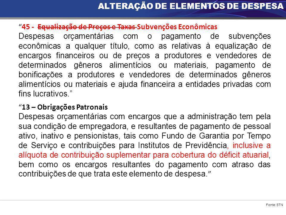 """Fonte: STN ALTERAÇÃO DE ELEMENTOS DE DESPESA """"45 - Equalização de Preços e Taxas Subvenções Econômicas Despesas orçamentárias com o pagamento de subve"""