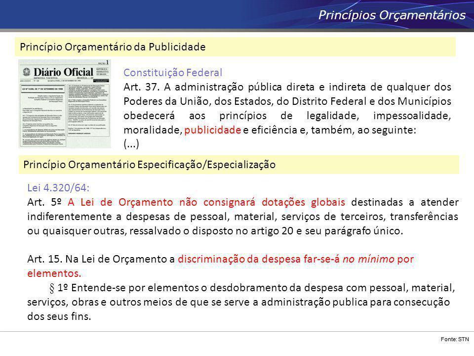 Fonte: STN Princípios Orçamentários Princípio Orçamentário da Publicidade Princípio Orçamentário Especificação/Especialização Lei 4.320/64: Art. 5º A