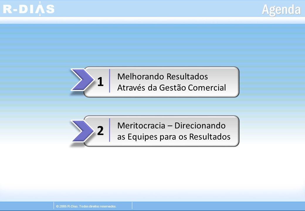 © 2005 R-Dias. Todos direitos reservados. Agenda 1 2 Melhorando Resultados Através da Gestão Comercial Meritocracia – Direcionando as Equipes para os