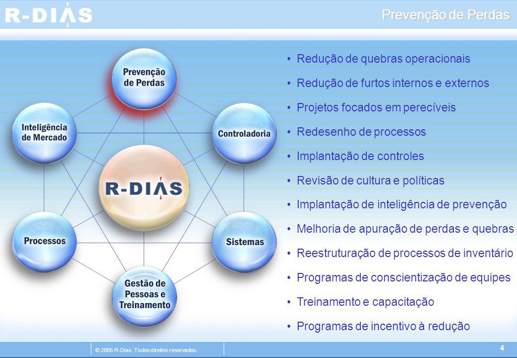 © 2005 R-Dias. Todos direitos reservados. Prevenção de Perdas 4 Redução de quebras operacionais Redução de furtos internos e externos Projetos focados