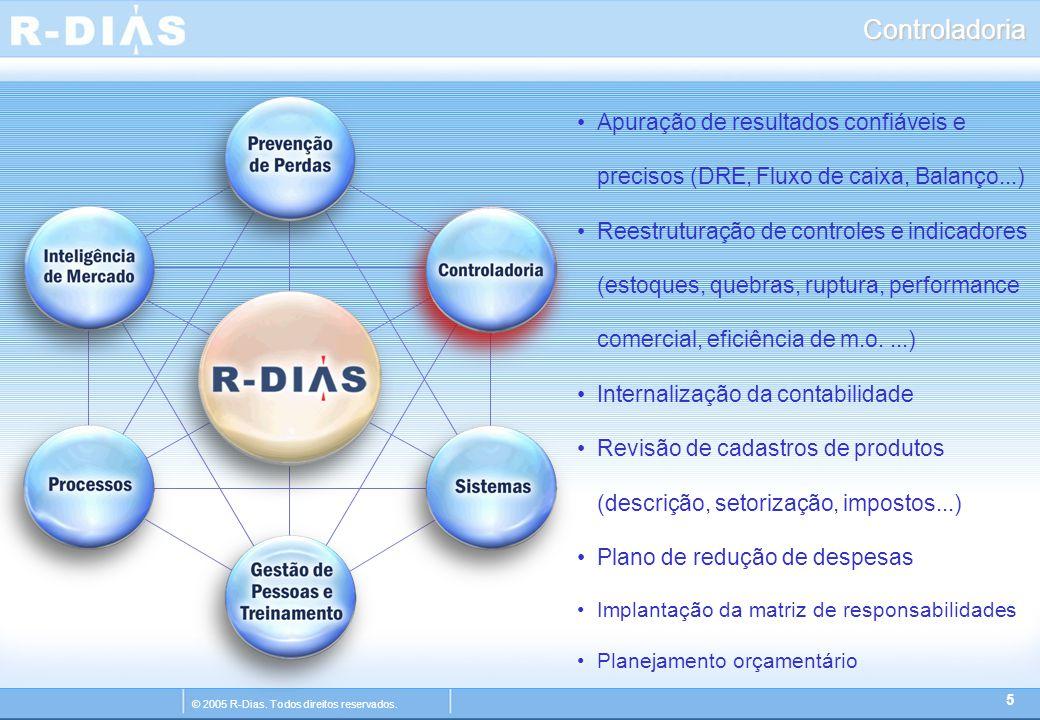 © 2005 R-Dias. Todos direitos reservados. Controladoria 5 Apuração de resultados confiáveis e precisos (DRE, Fluxo de caixa, Balanço...) Reestruturaçã