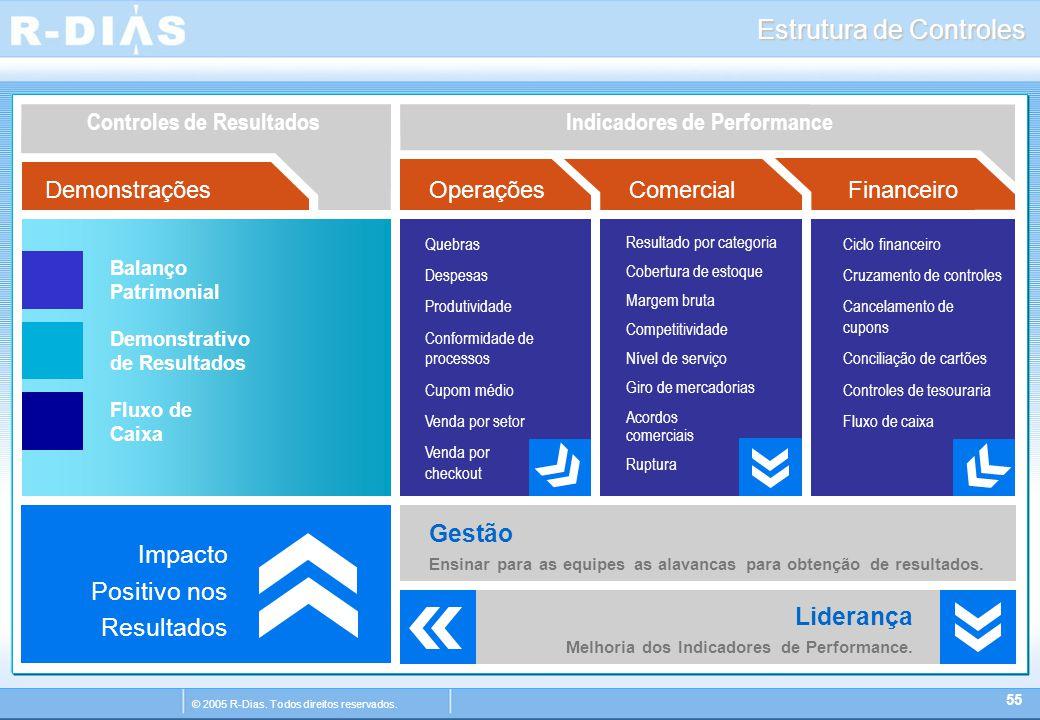 © 2005 R-Dias. Todos direitos reservados. Liderança Melhoria dos Indicadores de Performance. Estrutura de Controles Indicadores de PerformanceControle