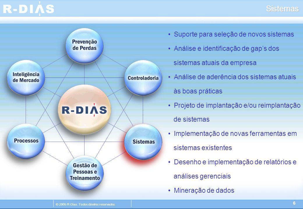 © 2005 R-Dias. Todos direitos reservados. Sistemas 6 Suporte para seleção de novos sistemas Análise e identificação de gap's dos sistemas atuais da em