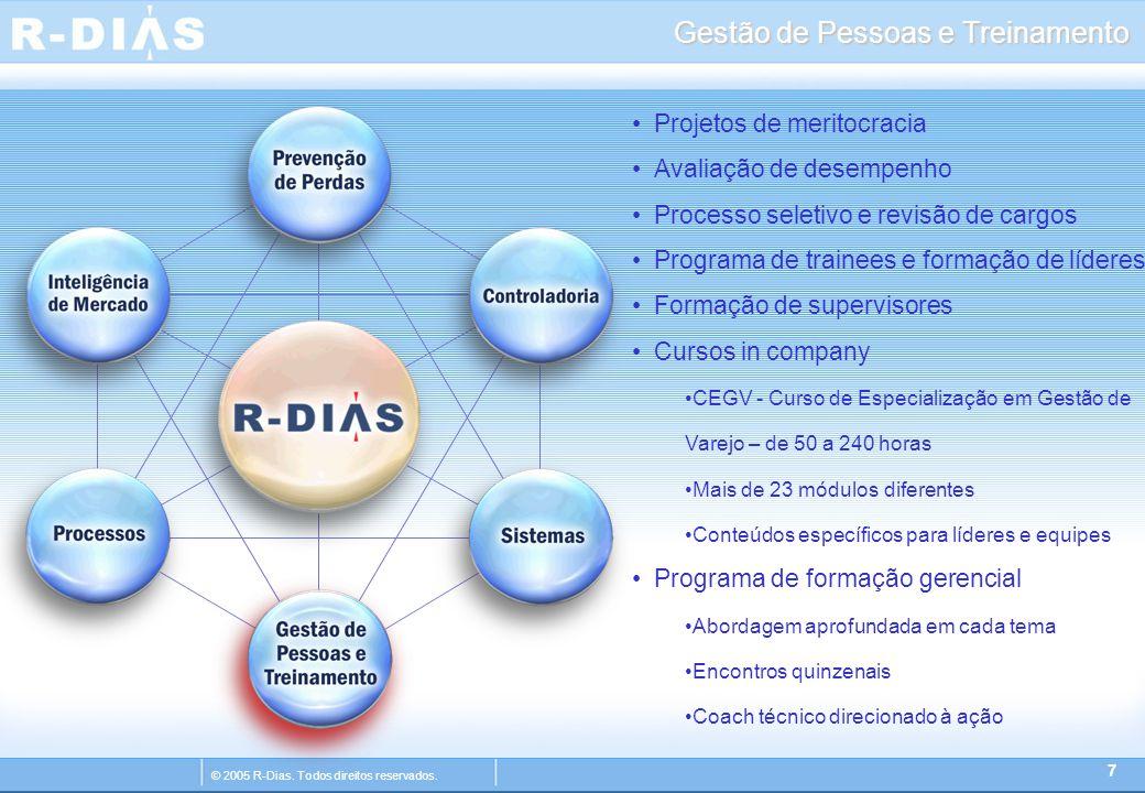 © 2005 R-Dias. Todos direitos reservados. Gestão de Pessoas e Treinamento 7 Projetos de meritocracia Avaliação de desempenho Processo seletivo e revis