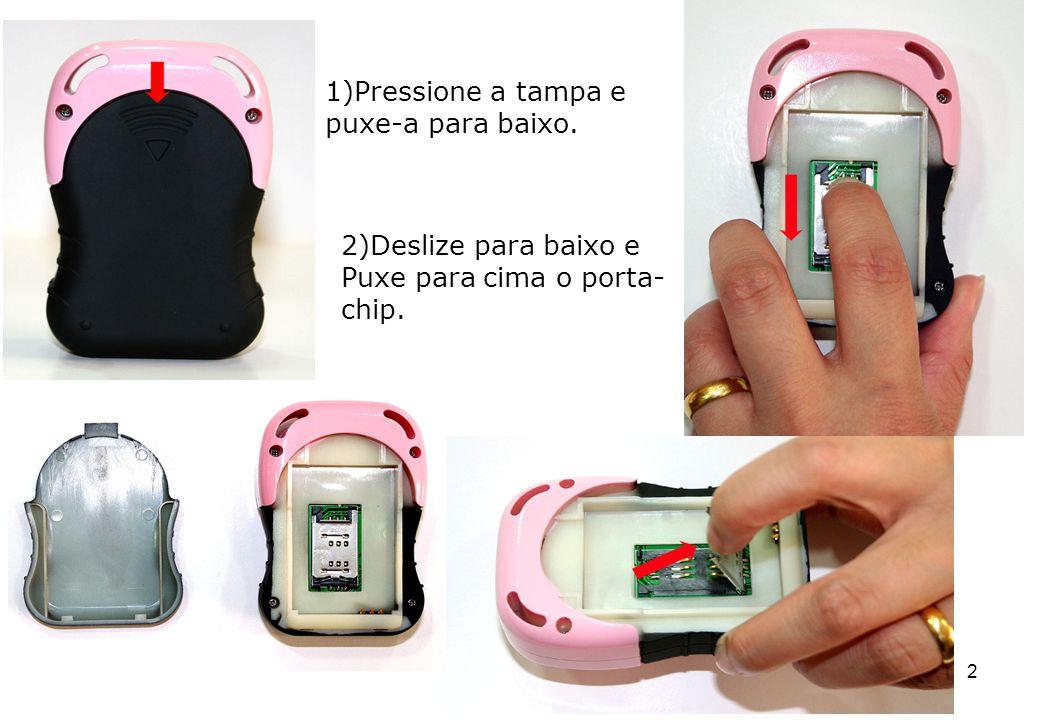 13 Comandos SMS Se o aparelho estiver com você: Certifique-se que seu aparelho está ligado, com sinal de GSM e com carga na bateria, ou seja: O LED amarelo deverá estar piscando (GSM OK) O LED vermelho deverá estar apagado (carga bat.