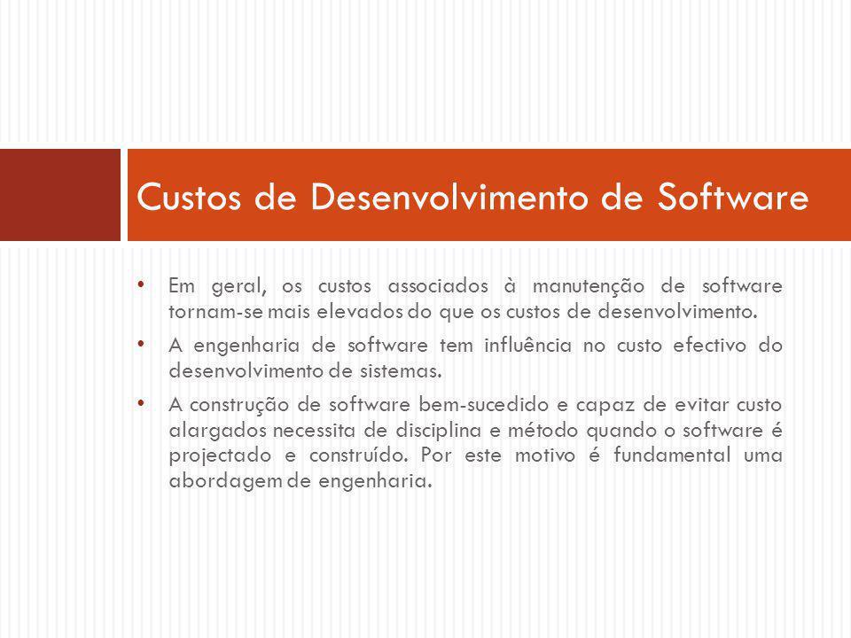 Em geral, os custos associados à manutenção de software tornam-se mais elevados do que os custos de desenvolvimento.
