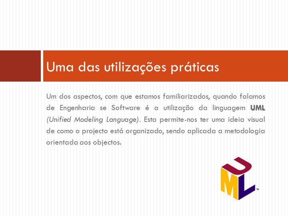 UML Um dos aspectos, com que estamos familiarizados, quando falamos de Engenharia se Software é a utilização da linguagem UML (Unified Modeling Language).