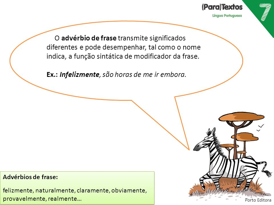 Porto Editora O advérbio de frase transmite significados diferentes e pode desempenhar, tal como o nome indica, a função sintática de modificador da f