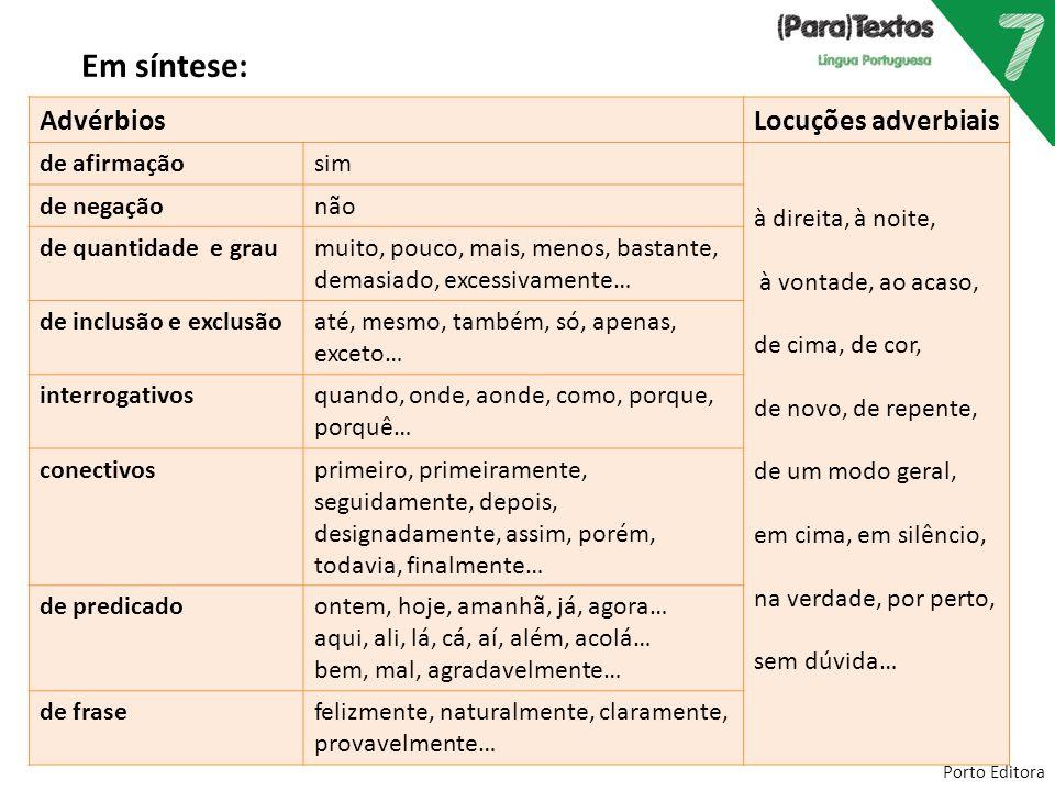 Porto Editora Em síntese: AdvérbiosLocuções adverbiais de afirmaçãosim à direita, à noite, à vontade, ao acaso, de cima, de cor, de novo, de repente,