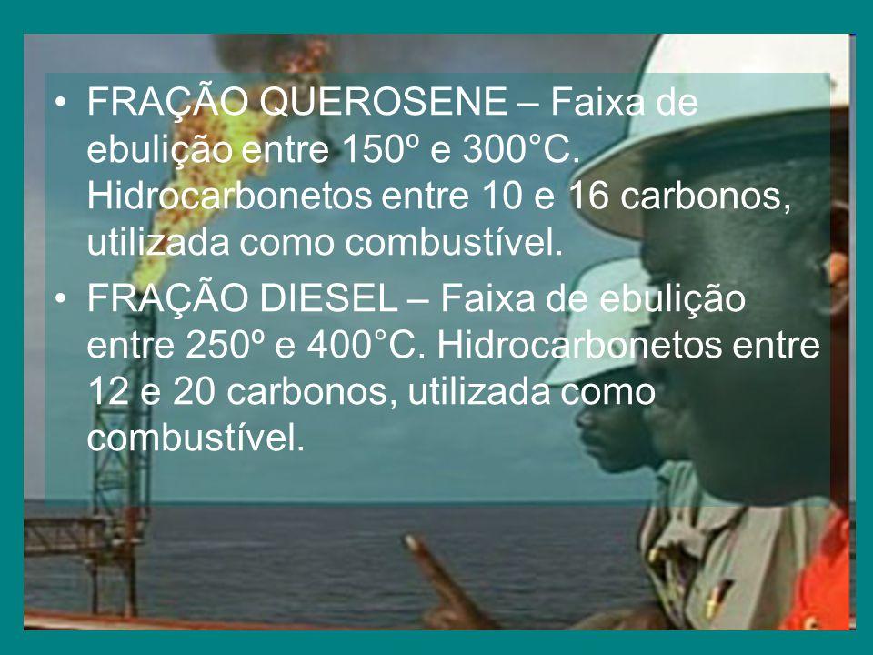 FRAÇÃO QUEROSENE – Faixa de ebulição entre 150º e 300°C.
