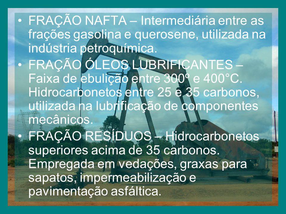 FRAÇÃO NAFTA – Intermediária entre as frações gasolina e querosene, utilizada na indústria petroquímica.