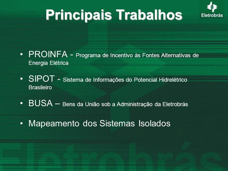 Principais Trabalhos PROINFA - Programa de Incentivo às Fontes Alternativas de Energia Elétrica SIPOT - Sistema de Informações do Potencial Hidrelétrico Brasileiro BUSA – Bens da União sob a Administração da Eletrobrás Mapeamento dos Sistemas Isolados