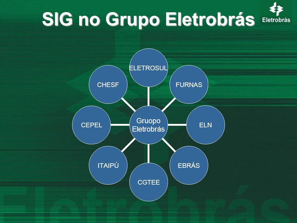 SIG no Grupo Eletrobrás Gruopo Eletrobrás ELETROSULFURNASELNEBRÁSCGTEEITAIPÚCEPELCHESF