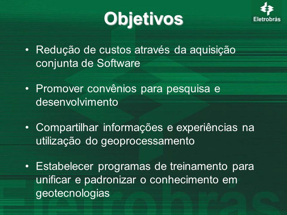 Objetivos Redução de custos através da aquisição conjunta de Software Promover convênios para pesquisa e desenvolvimento Compartilhar informações e experiências na utilização do geoprocessamento Estabelecer programas de treinamento para unificar e padronizar o conhecimento em geotecnologias