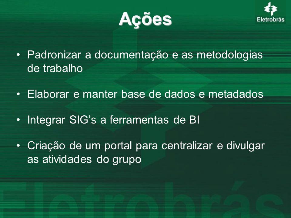 Ações Padronizar a documentação e as metodologias de trabalho Elaborar e manter base de dados e metadados Integrar SIG's a ferramentas de BI Criação de um portal para centralizar e divulgar as atividades do grupo