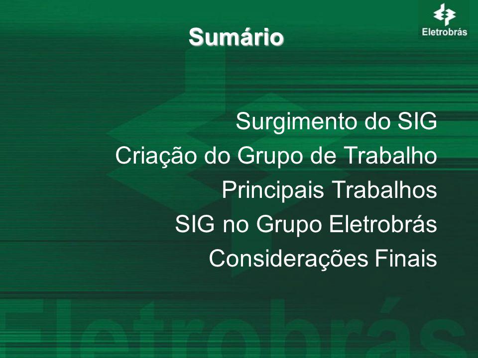Sumário Surgimento do SIG Criação do Grupo de Trabalho Principais Trabalhos SIG no Grupo Eletrobrás Considerações Finais