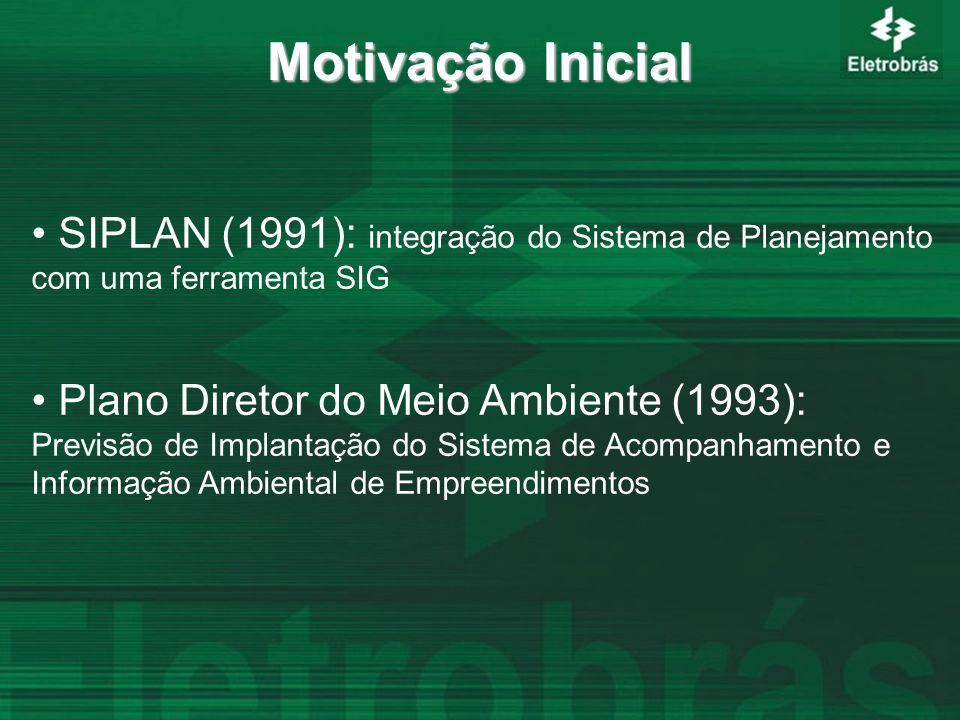SIPLAN (1991): integração do Sistema de Planejamento com uma ferramenta SIG Plano Diretor do Meio Ambiente (1993): Previsão de Implantação do Sistema de Acompanhamento e Informação Ambiental de Empreendimentos Motivação Inicial