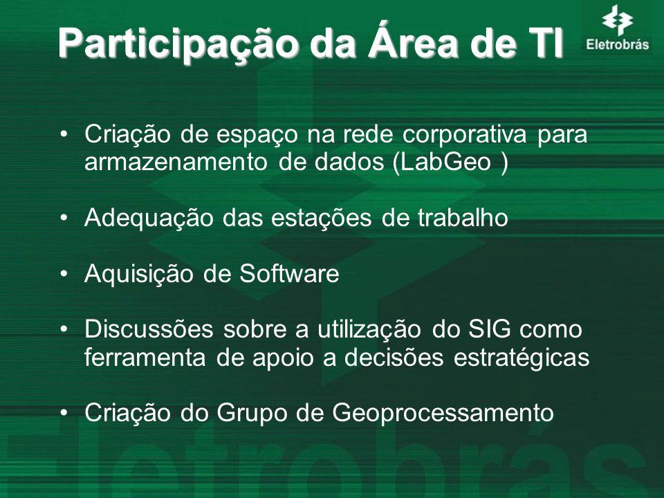 Participação da Área de TI Criação de espaço na rede corporativa para armazenamento de dados (LabGeo ) Adequação das estações de trabalho Aquisição de Software Discussões sobre a utilização do SIG como ferramenta de apoio a decisões estratégicas Criação do Grupo de Geoprocessamento