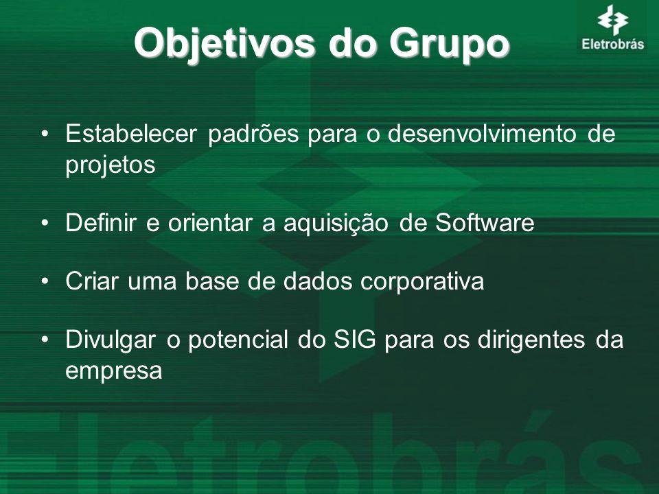 Objetivos do Grupo Estabelecer padrões para o desenvolvimento de projetos Definir e orientar a aquisição de Software Criar uma base de dados corporativa Divulgar o potencial do SIG para os dirigentes da empresa