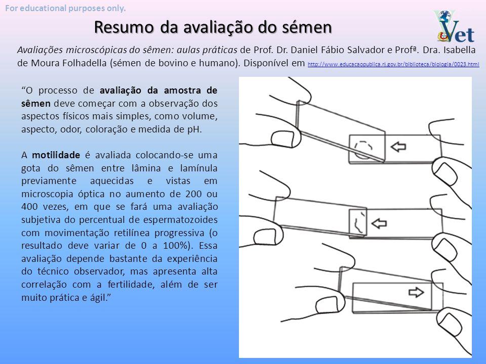 """Resumo da avaliação do sémen For educational purposes only. """"O processo de avaliação da amostra de sêmen deve começar com a observação dos aspectos fí"""