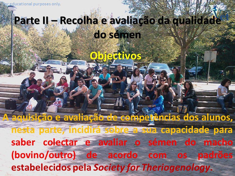 For educational purposes only. Características do sémen