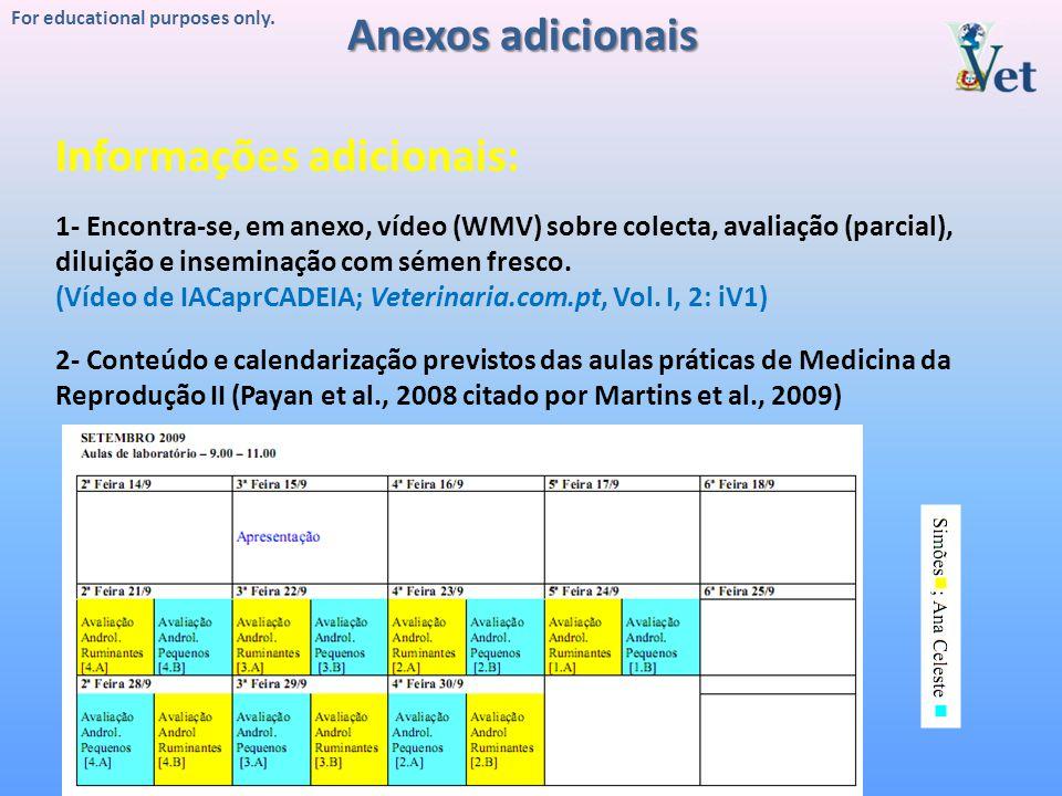 For educational purposes only. 1- Encontra-se, em anexo, vídeo (WMV) sobre colecta, avaliação (parcial), diluição e inseminação com sémen fresco. (Víd