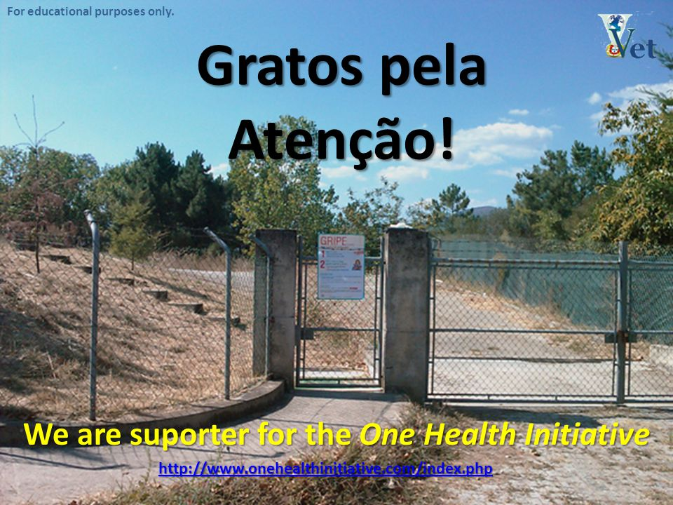 For educational purposes only. Gratos pela Atenção! We are suporter for the One Health Initiative http://www.onehealthinitiative.com/index.php
