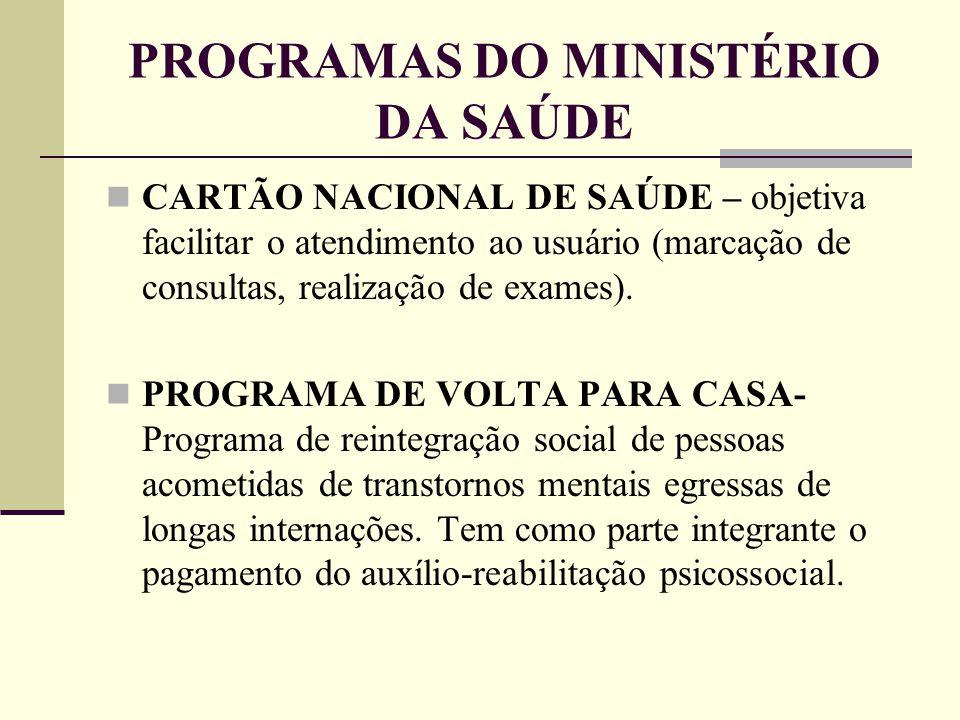 PROGRAMAS DO MINISTÉRIO DA SAÚDE CARTÃO NACIONAL DE SAÚDE – objetiva facilitar o atendimento ao usuário (marcação de consultas, realização de exames).