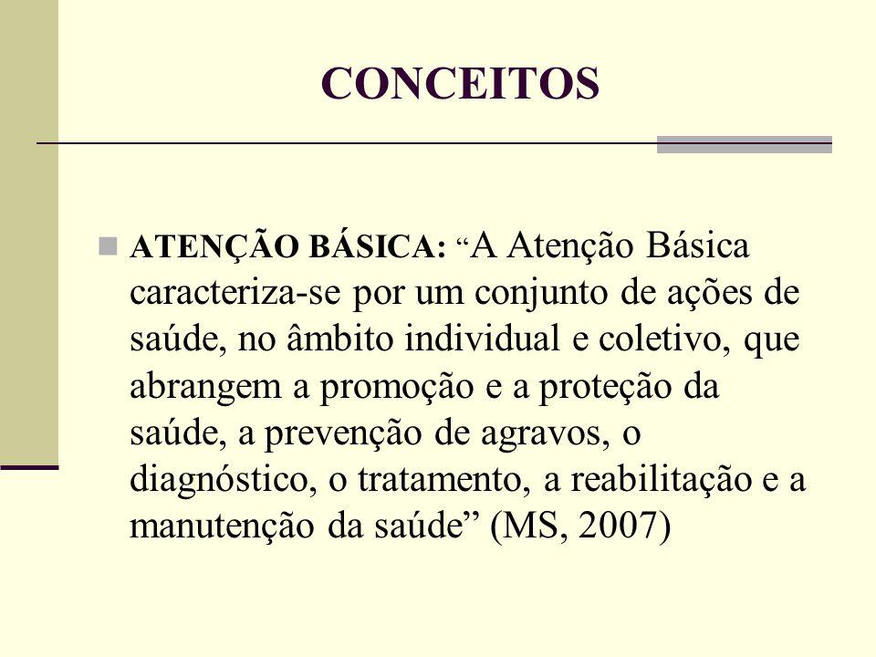 """CONCEITOS ATENÇÃO BÁSICA: """" A Atenção Básica caracteriza-se por um conjunto de ações de saúde, no âmbito individual e coletivo, que abrangem a promoçã"""