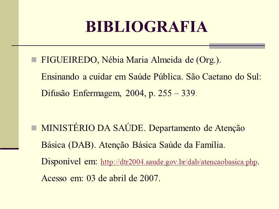 BIBLIOGRAFIA FIGUEIREDO, Nébia Maria Almeida de (Org.). Ensinando a cuidar em Saúde Pública. São Caetano do Sul: Difusão Enfermagem, 2004, p. 255 – 33