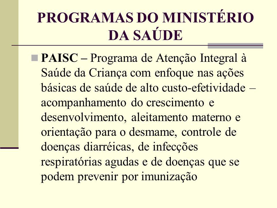 PROGRAMAS DO MINISTÉRIO DA SAÚDE PAISC – Programa de Atenção Integral à Saúde da Criança com enfoque nas ações básicas de saúde de alto custo-efetivid