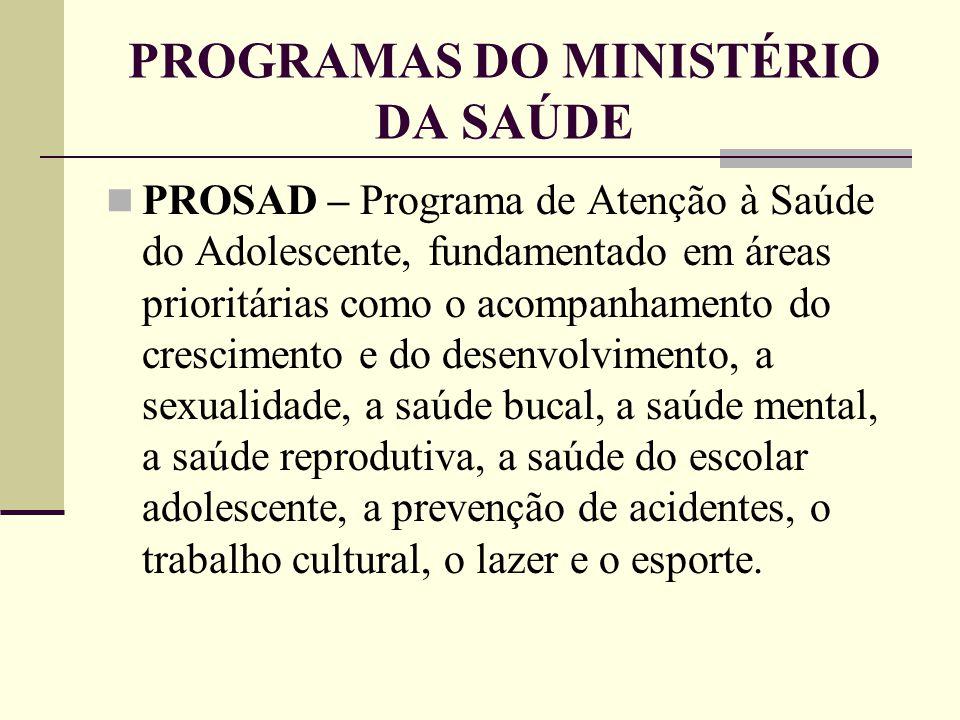 PROGRAMAS DO MINISTÉRIO DA SAÚDE PROSAD – Programa de Atenção à Saúde do Adolescente, fundamentado em áreas prioritárias como o acompanhamento do cres