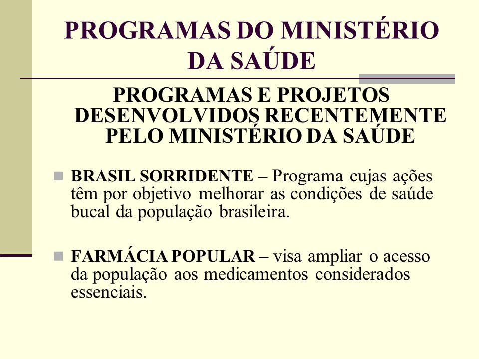 PROGRAMAS DO MINISTÉRIO DA SAÚDE PROGRAMAS E PROJETOS DESENVOLVIDOS RECENTEMENTE PELO MINISTÉRIO DA SAÚDE BRASIL SORRIDENTE – Programa cujas ações têm