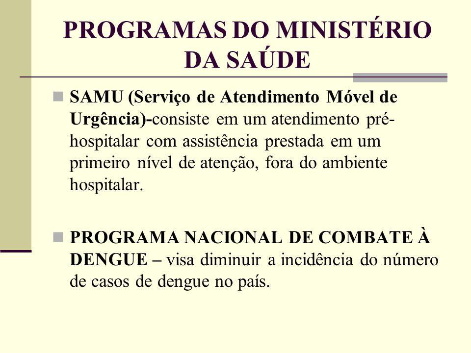 PROGRAMAS DO MINISTÉRIO DA SAÚDE SAMU (Serviço de Atendimento Móvel de Urgência)-consiste em um atendimento pré- hospitalar com assistência prestada e