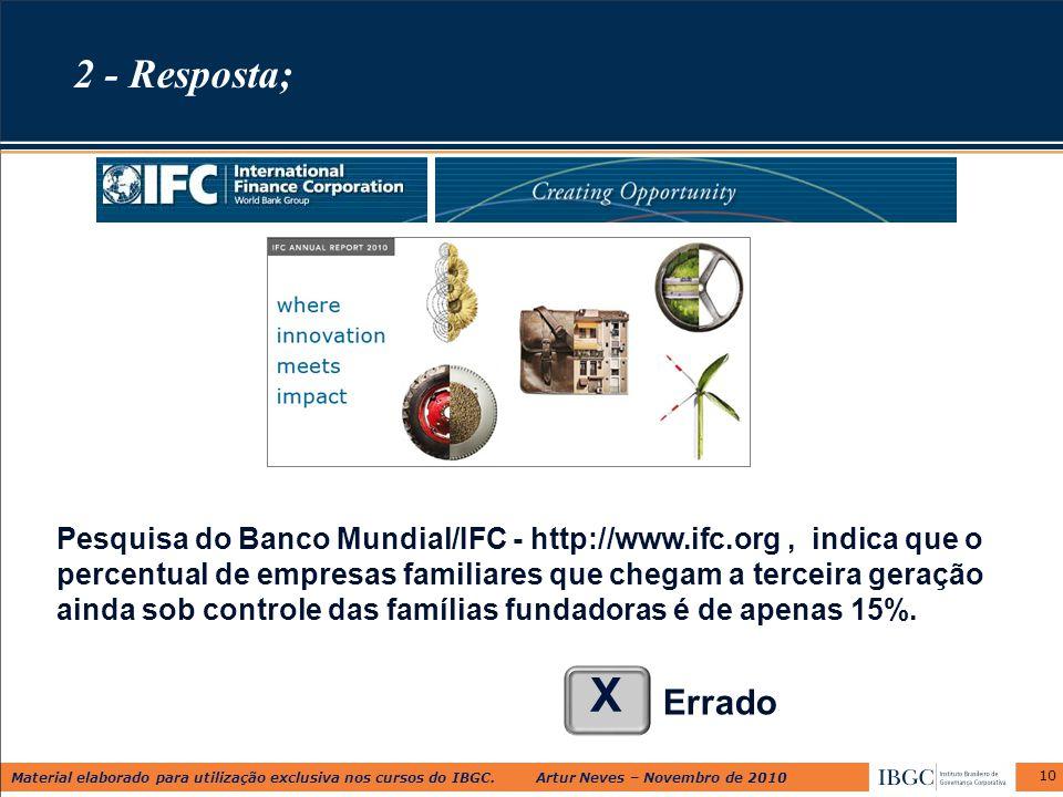 Material elaborado para utilização exclusiva nos cursos do IBGC. Artur Neves – Novembro de 2010 10 Pesquisa do Banco Mundial/IFC - http://www.ifc.org,