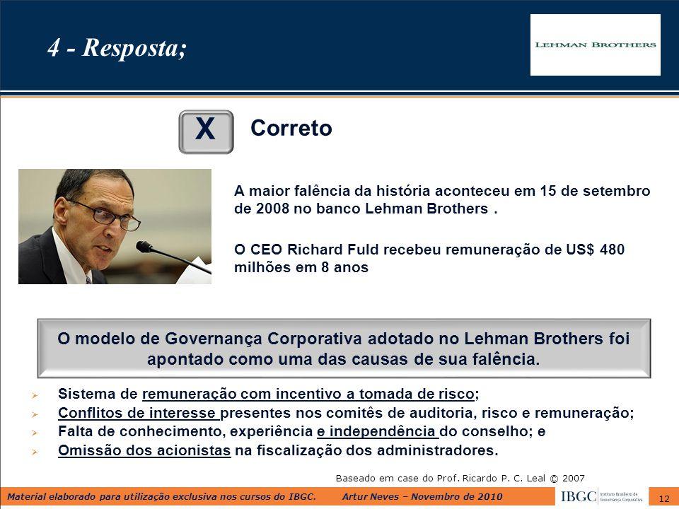 Material elaborado para utilização exclusiva nos cursos do IBGC. Artur Neves – Novembro de 2010 12 Baseado em case do Prof. Ricardo P. C. Leal © 2007