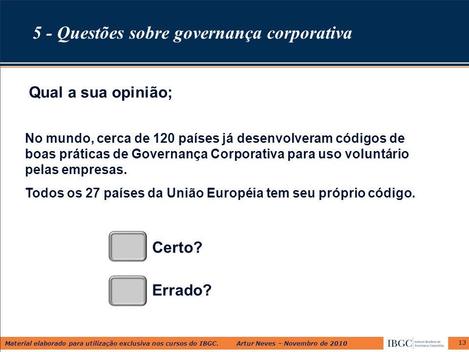 Material elaborado para utilização exclusiva nos cursos do IBGC. Artur Neves – Novembro de 2010 13 No mundo, cerca de 120 países já desenvolveram códi