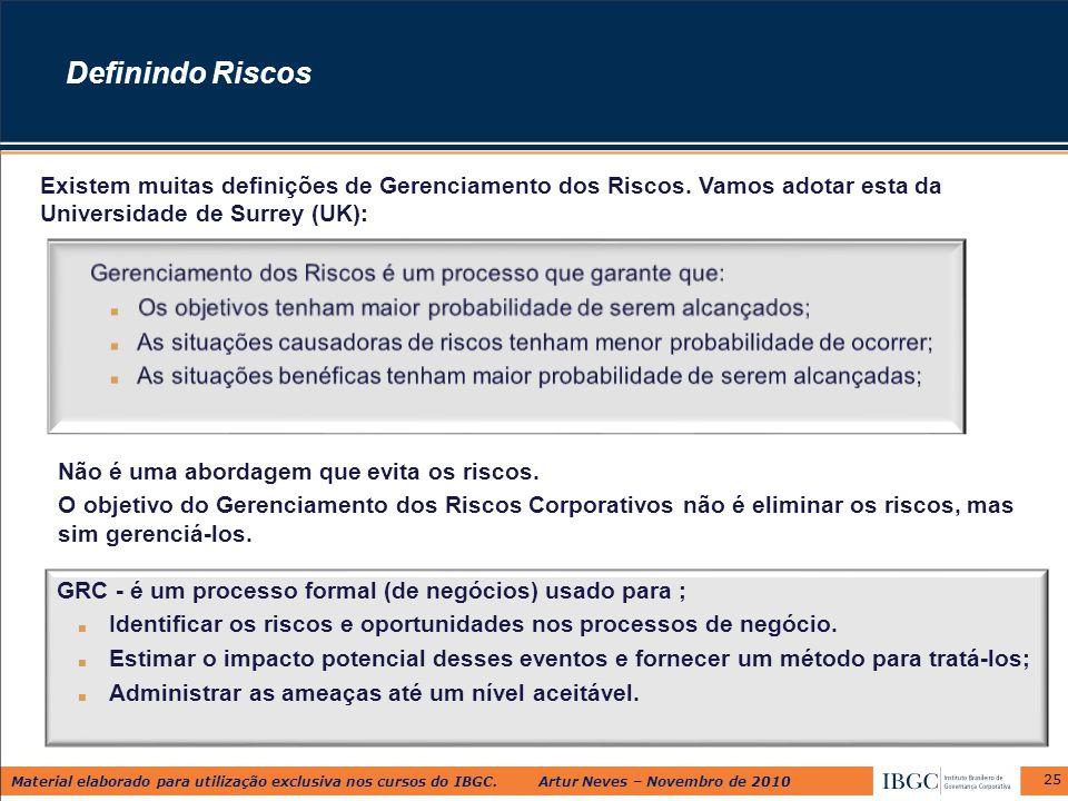 Material elaborado para utilização exclusiva nos cursos do IBGC. Artur Neves – Novembro de 2010 25 Definindo Riscos Existem muitas definições de Geren